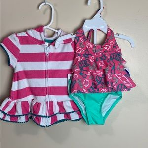 Pink, white & aqua coverup & tankini top & bottoms